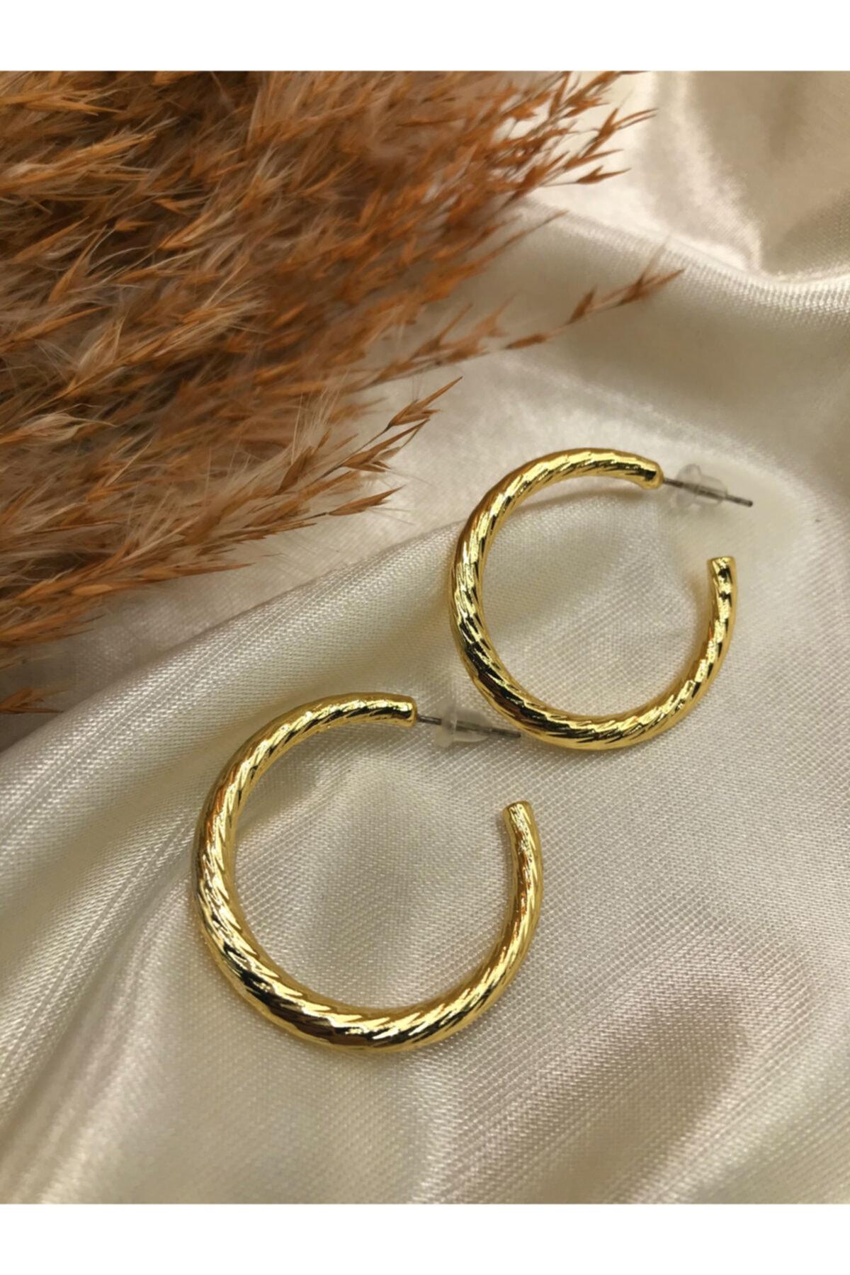 Eylülün Takısı Gold Renk Tasarım Küpe 1