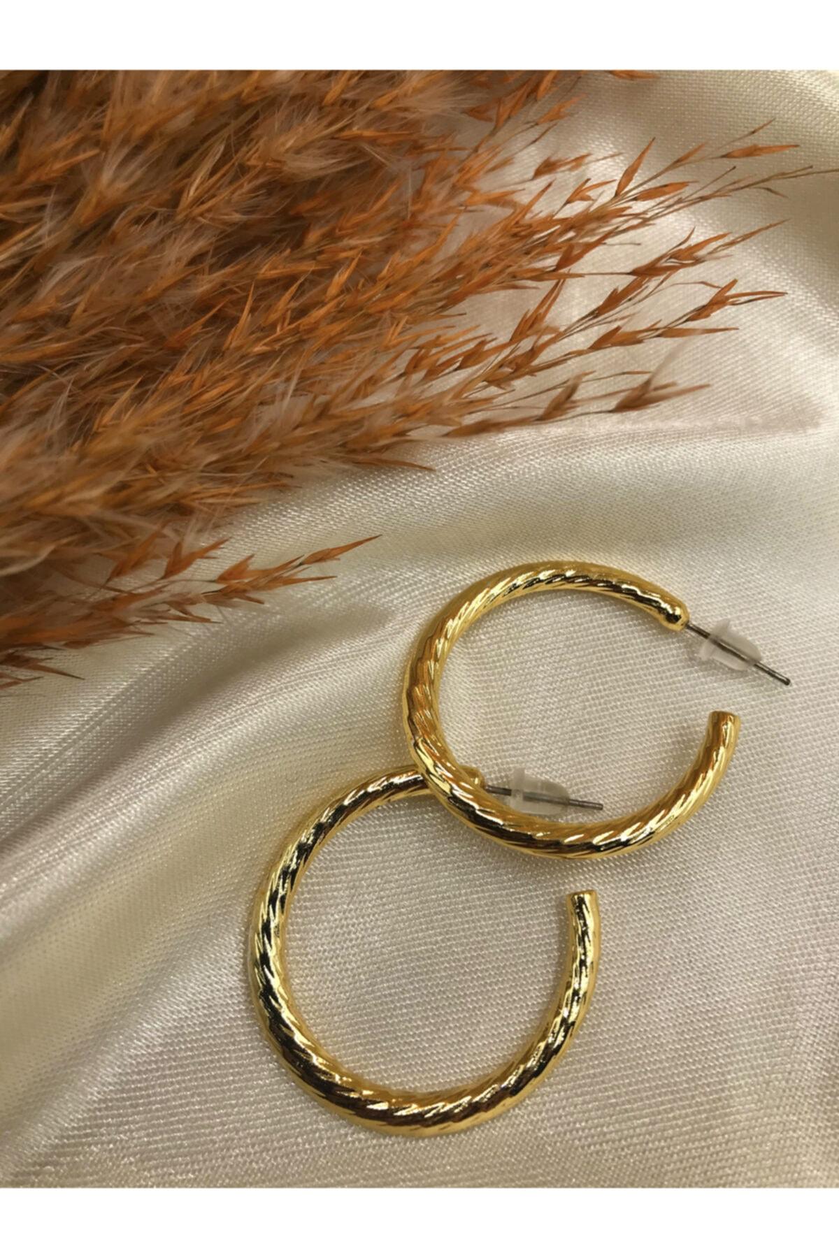 Eylülün Takısı Gold Renk Tasarım Küpe 2