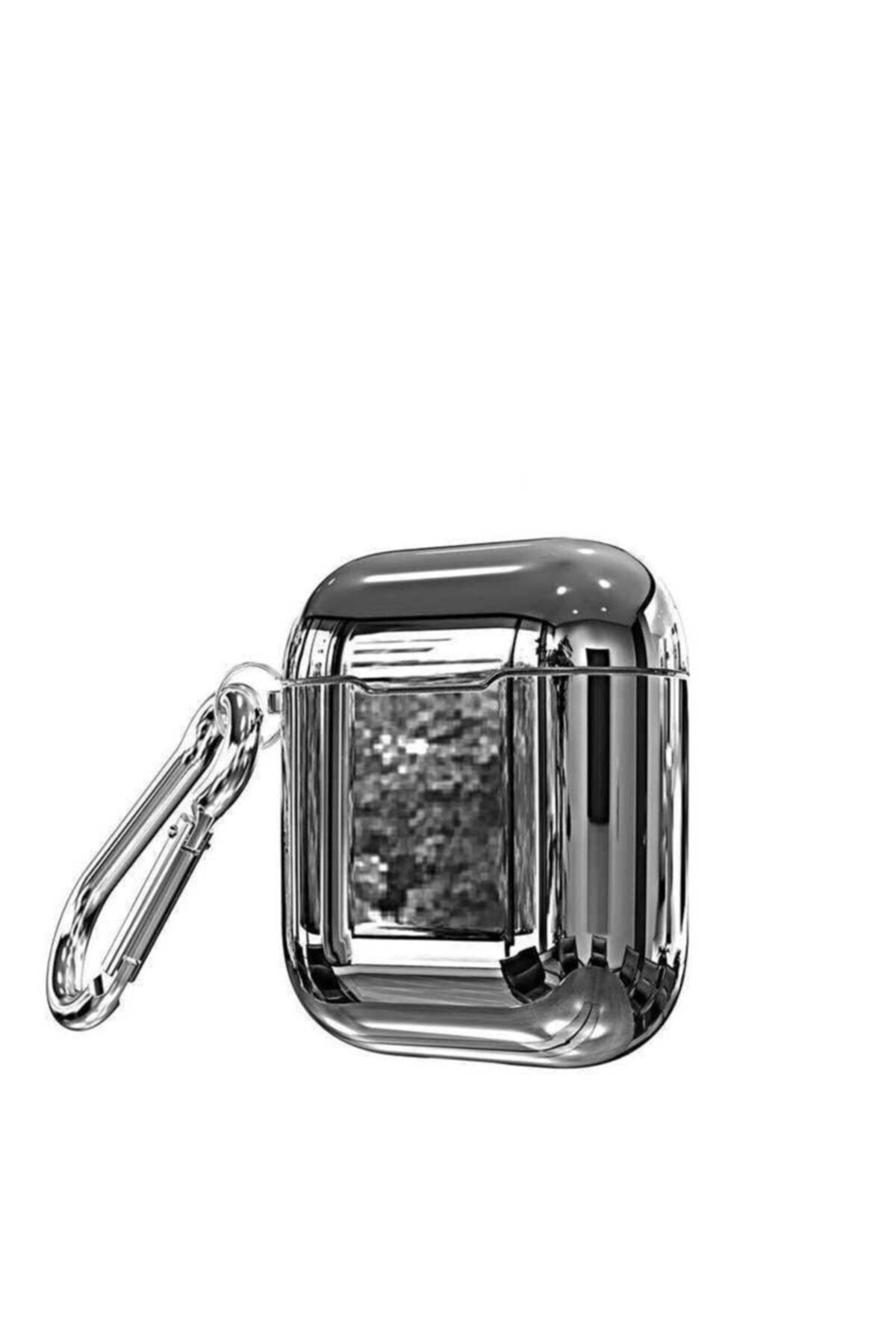zore Gümüş Airpods Uyumlu Parlak Polikarbon Mazleme  Kılıf 1