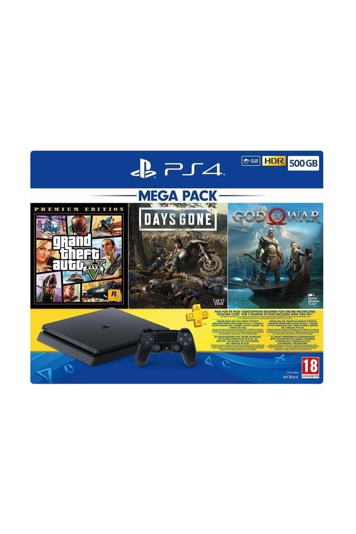 Sony Playstation 4 Slim 500 Gb + Gta V + Days Gone + God Of War + Psn (eurasia Garantili) 1