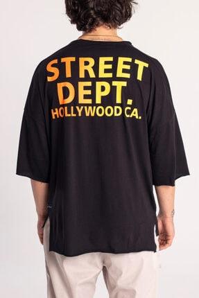 Catch Street Dept. Siyah Oversize T-shirt Y-526