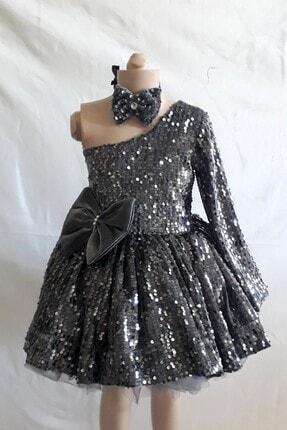 Şahinkostum Kız Çocuk Füme Tek Kollu Kadife Pullu Abiye Elbise