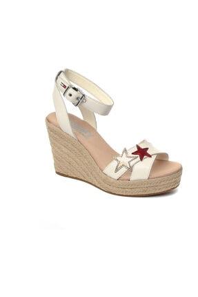 Tommy Hilfiger Beyaz Kadın  Sandalet En0en00238 121 Tommy Hılfıger Wedge Sandal Glıtter Badge W