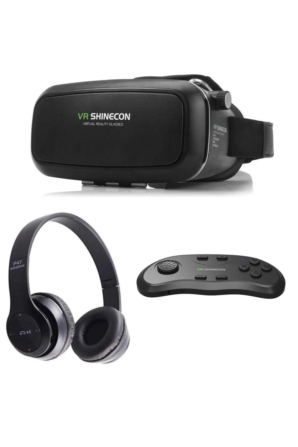VR Shinecon Sanal Gerçeklik Gözlüğü Kumanda Ve Bluetooth Kulaklık Seti 1