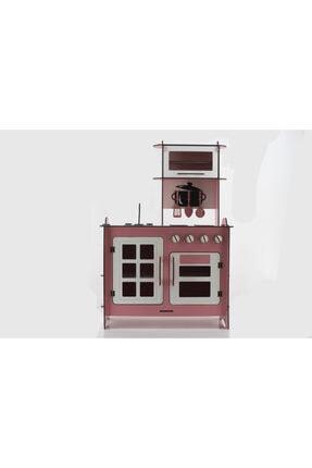 EMRİN AHŞAP OYUNCAK VE HEDİYELİK EŞYA Emrin Ahşap Oyuncak - Büyük Boy Pembe Renk- Evcilik Oyuncak Mutfak Seti- Montessori - Model:epyo01
