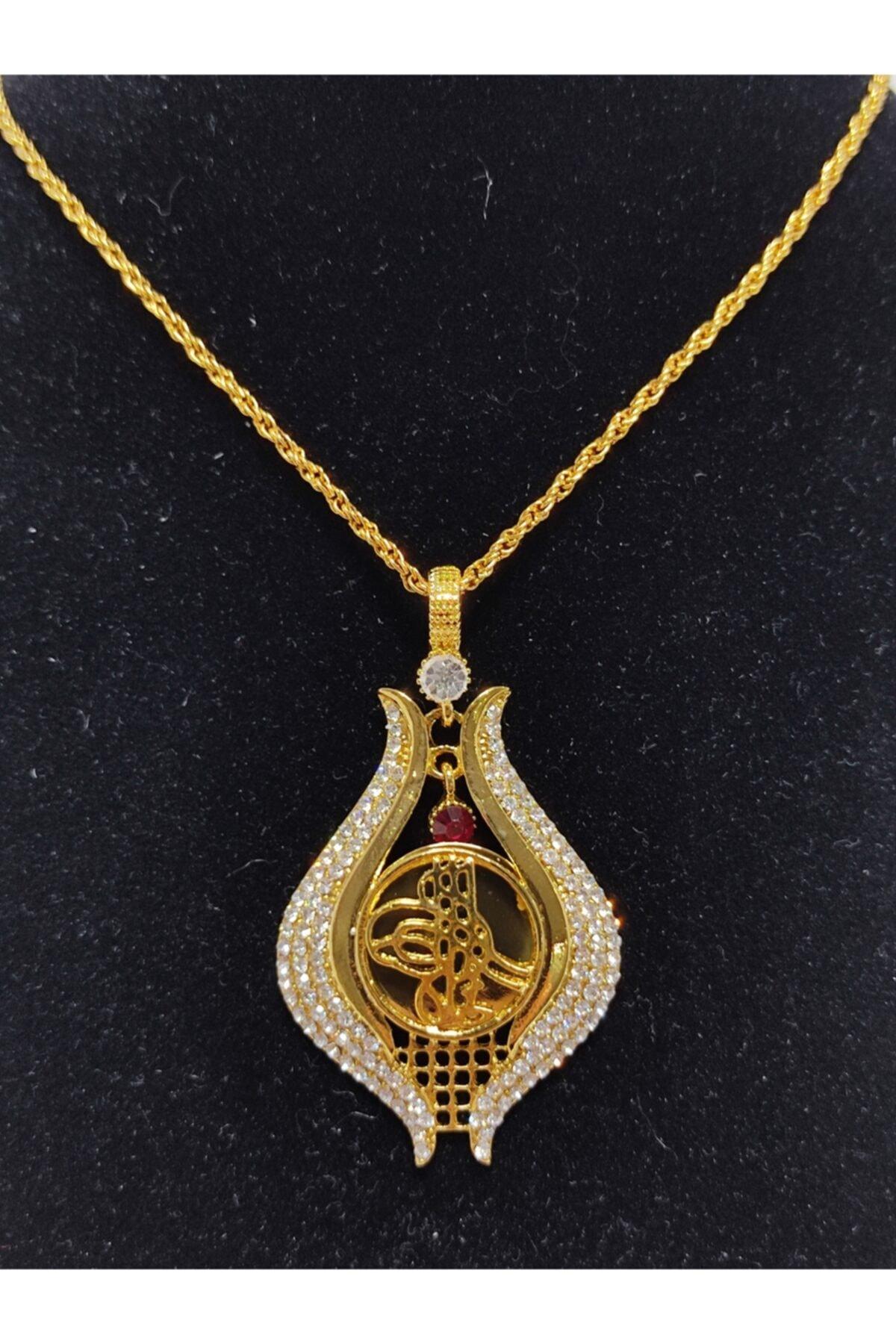 HDI Yeni Model Lale Motifi Osmanlı Tuğralı Zirkon Taşlı Altın Kaplama 22 Ayar Kolye 1