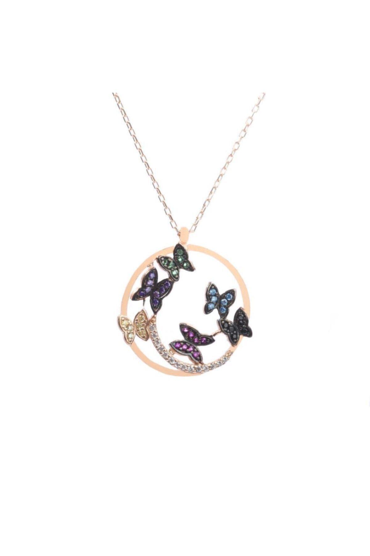 Som Gümüş & Tesbih 925 Ayar Gümüş Renkli Kelebekler Tasarım Kolye 1