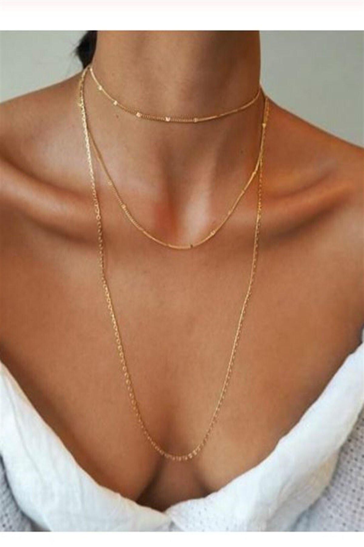 X-Lady Accessories Kadın Üçlü Şeri Zincir Kolye Gold Kaplama Katmanlı Kolye Choker Uzun Çoklu Kolye 1
