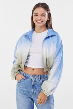 Bershka Kadın Haki Gölgeli Desenli Ceket