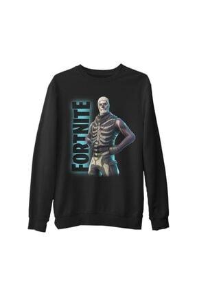 Lord T-Shirt Erkek Siyah Fortnite - Skull Trooper Kalın Sweatshirt
