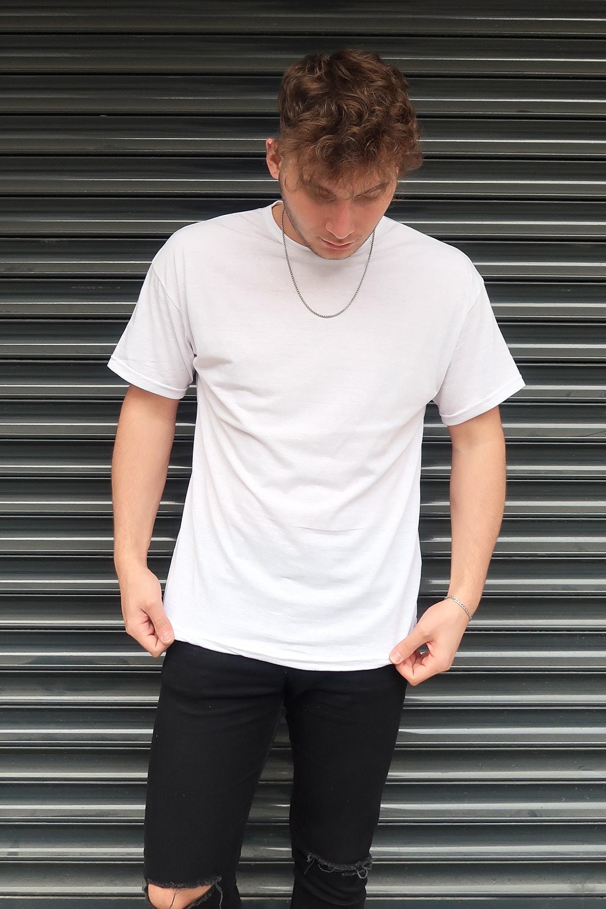 aksesuargo Beyaz Basic Unisex Bisiklet Yaka Oversize T-shirt 2