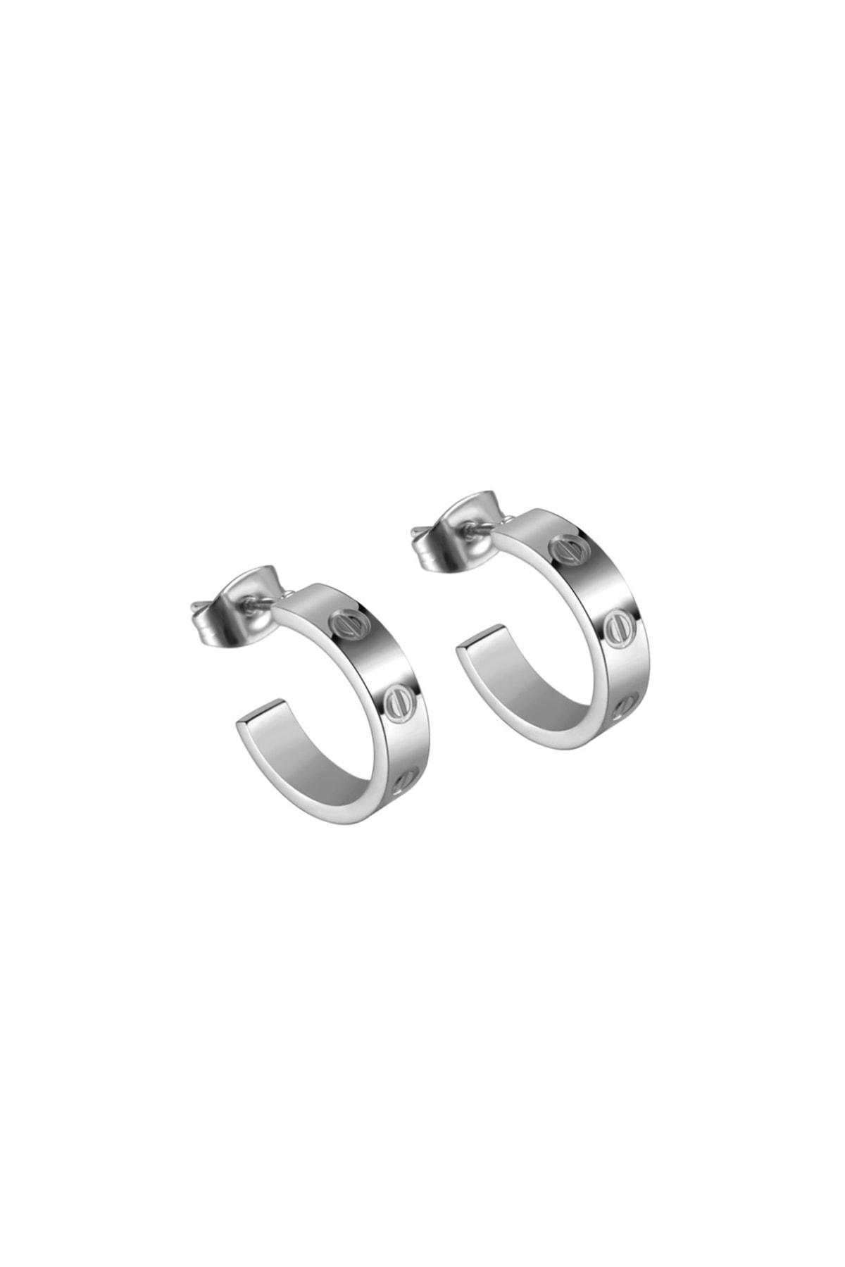 Chavin Vidalı Tasarım Bayan Çelik Küpe Eh81 1