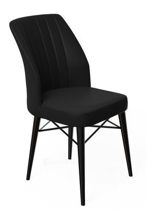rovena Liva Serisi Siyah Gürgen Ayaklı Siyah Sandalye