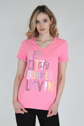 Camp David Kadın Pembe V Yaka Baskılı T-shirt