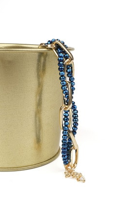 Marjin Kadın Altın Renkli Zincir Içerisinde Mavi Boncuklu Bileklikmavi