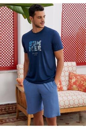 Eros O Yaka Altı Şort Erkek Pijama Takımı