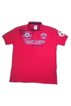 More Erkek Kırmızı Polo Yakalı Düğmeli Aplikeli Kısa Kollu Büyük Beden Tişört