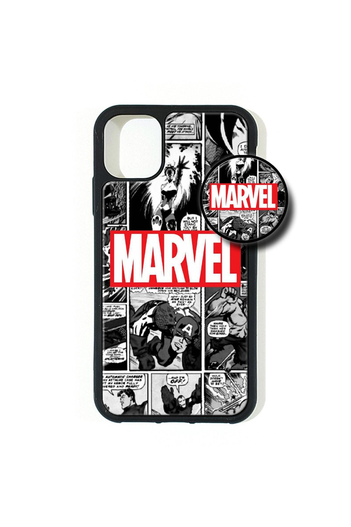 AVS KILIF Iphone 11 Pro Max Uyumlu Marvel Popsocketli Kılıf Epoksi & Silikon Arka Kapak 1