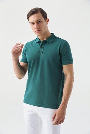 D'S Damat Erkek Yeşil Regular Fit Pike Dokulu T-shirt