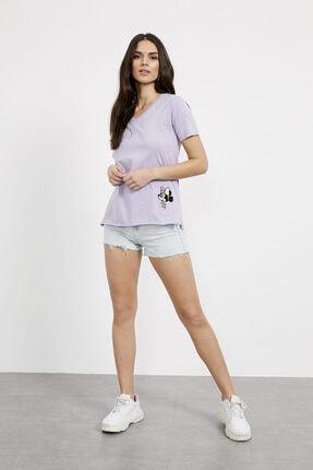 Arma Life Kadın Lila Nakışlı V Yaka T-Shirt