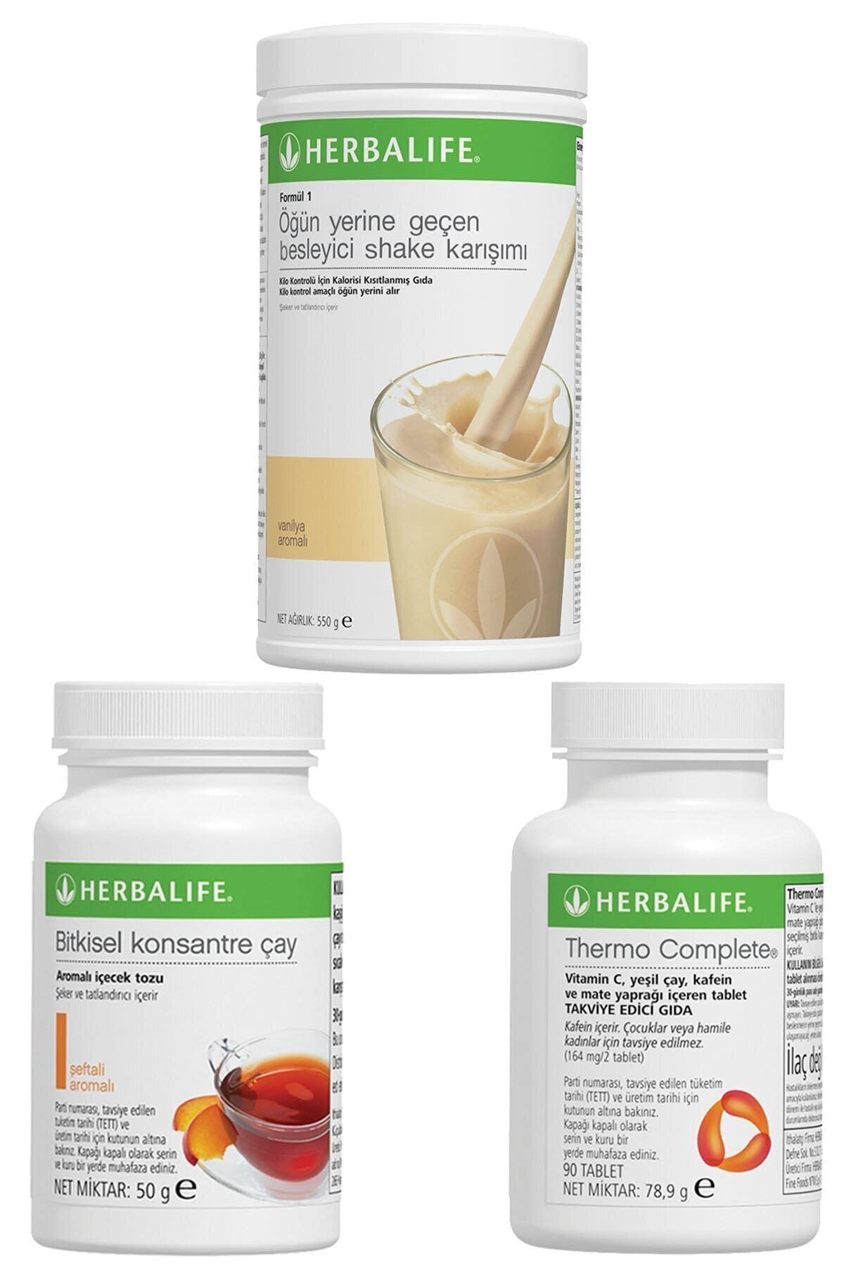 Herbalife Shake Vanilyalı, Thermo Complete, Şeftali Çay 50gr Birer Adet 1