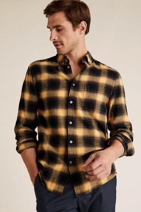 Marks & Spencer Erkek Sarı Saf Pamuklu Ekose Gömlek