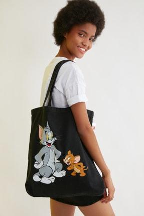 TRENDYOLMİLLA Siyah Tom & Jerry Lisanslı Baskılı Denim Omuz Çantası TWOSS21GU0003