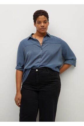 Violeta by MANGO Kadın Mavi Dökümlü Kontrast Gömlek