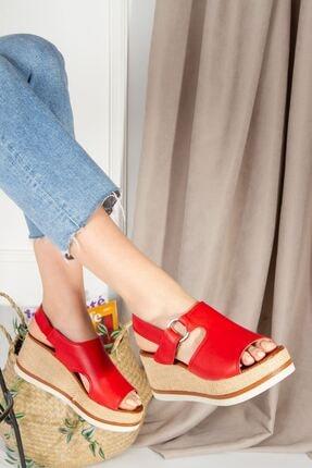 derithy Kadın Kırmızı Topuklu Sandalet7600