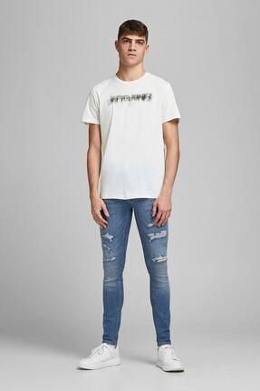 Jack & Jones Erkek Beyaz Bisiklet Yaka T-shirt 12185120 Joredge