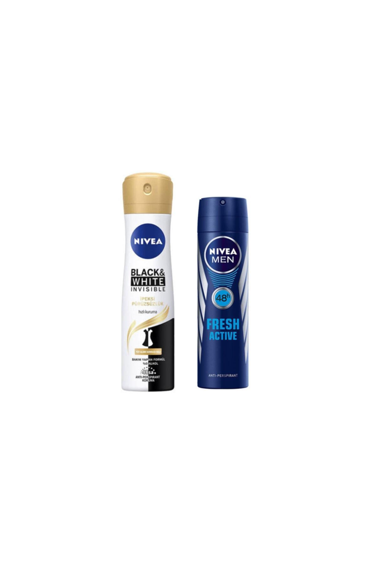 Nivea B&w Invisible Sprey Deodorant 150 Ml + Deodorant Fresh Active Erkek 150ml Men 1