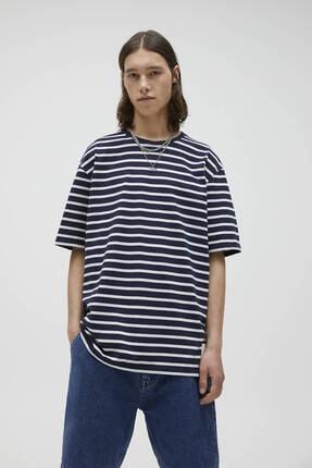 Pull & Bear Erkek Lacivert Basic Kontrast Çizgili T-shirt