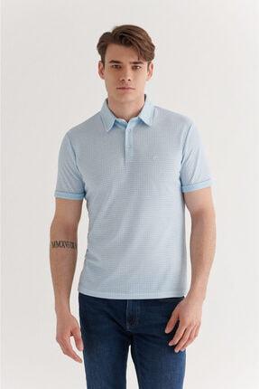 Avva Erkek Açık Mavi Polo Yaka Double Kol Baskılı T-shirt A11y1137