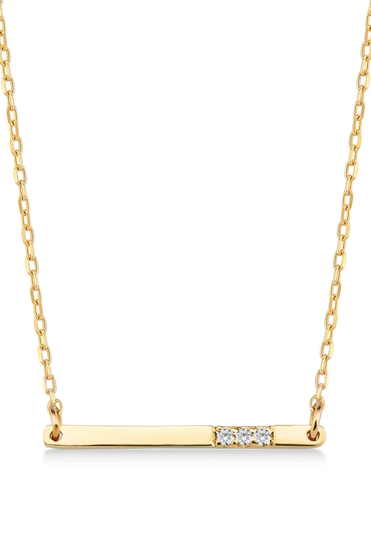Gelin Pırlanta Kadın Altın  Diamond Pırlantalı Bar Kolye 14 Ayar 1