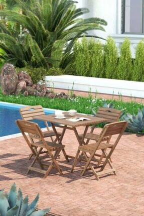 Meya Dekor Minder Hediye Balkon - Bahçe 5'li Katlanabilir Bistro Set 4 Sandalye 1 Bhçe 60x80 Cm Masa