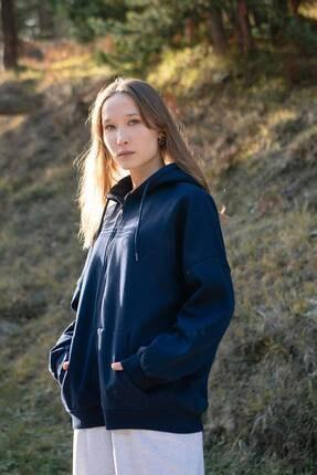Addax Kadın Lacivert Kapüşonlu Uzun Hırka H0725 - W6 - W7 ADX-0000020316
