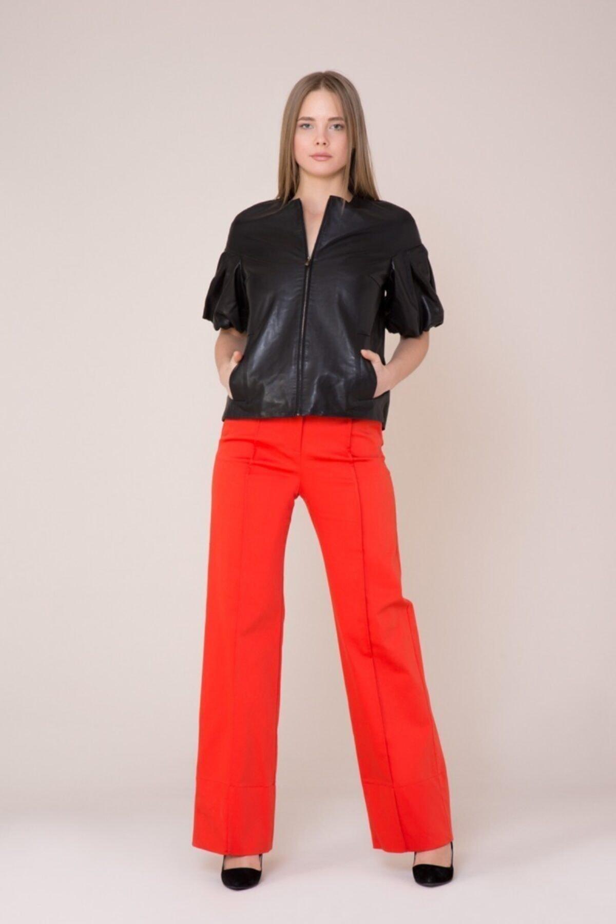 GIZIA CASUAL Kadın Turuncu Bol Paça Mercan Rengi Pantolon 1
