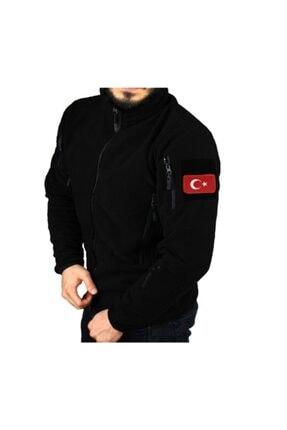 Gazi Ticaret Siyah Taktik Polar Mont 5 Cepli + Türk Bayrağı Peç