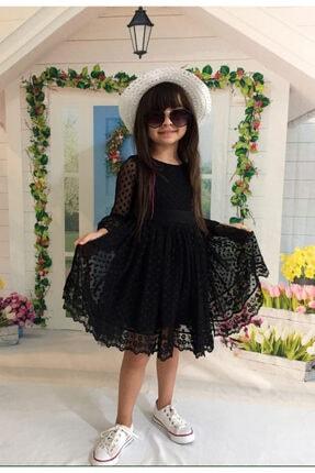 Mixie Kız Çoçuk Siyah Şapkalı Güpürlü Prenses Model Elbise
