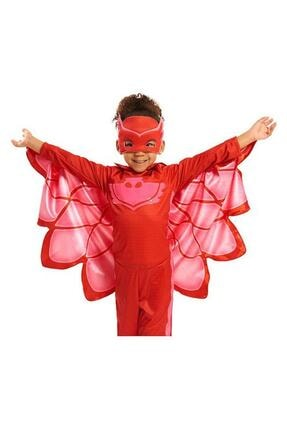 Kelebek Oyuncak Kız Çocuk Kırmızı Pijamaskeliler (Pjmasks) Baykuş Kostümü Owlette Kostümü