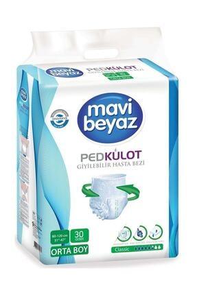 Mavi beyaz Ped Külot Hasta Bezi Medium Orta 30 Adet
