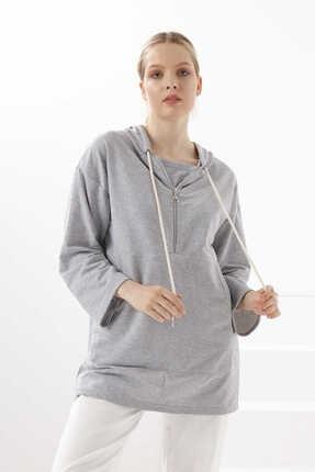 Yoncaekspres Kadın Gri Kapüşonlu Ve Fermuarlı Sweatshirt