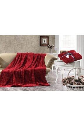 Dolce Bonita Home Çift Kişilik Embos Vizon Battaniye Kalp Kırmızı