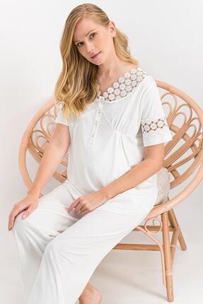 Arnetta Kadın White Daisy Krem Hamile, Lohusa Pijama Takımı Ar846-s
