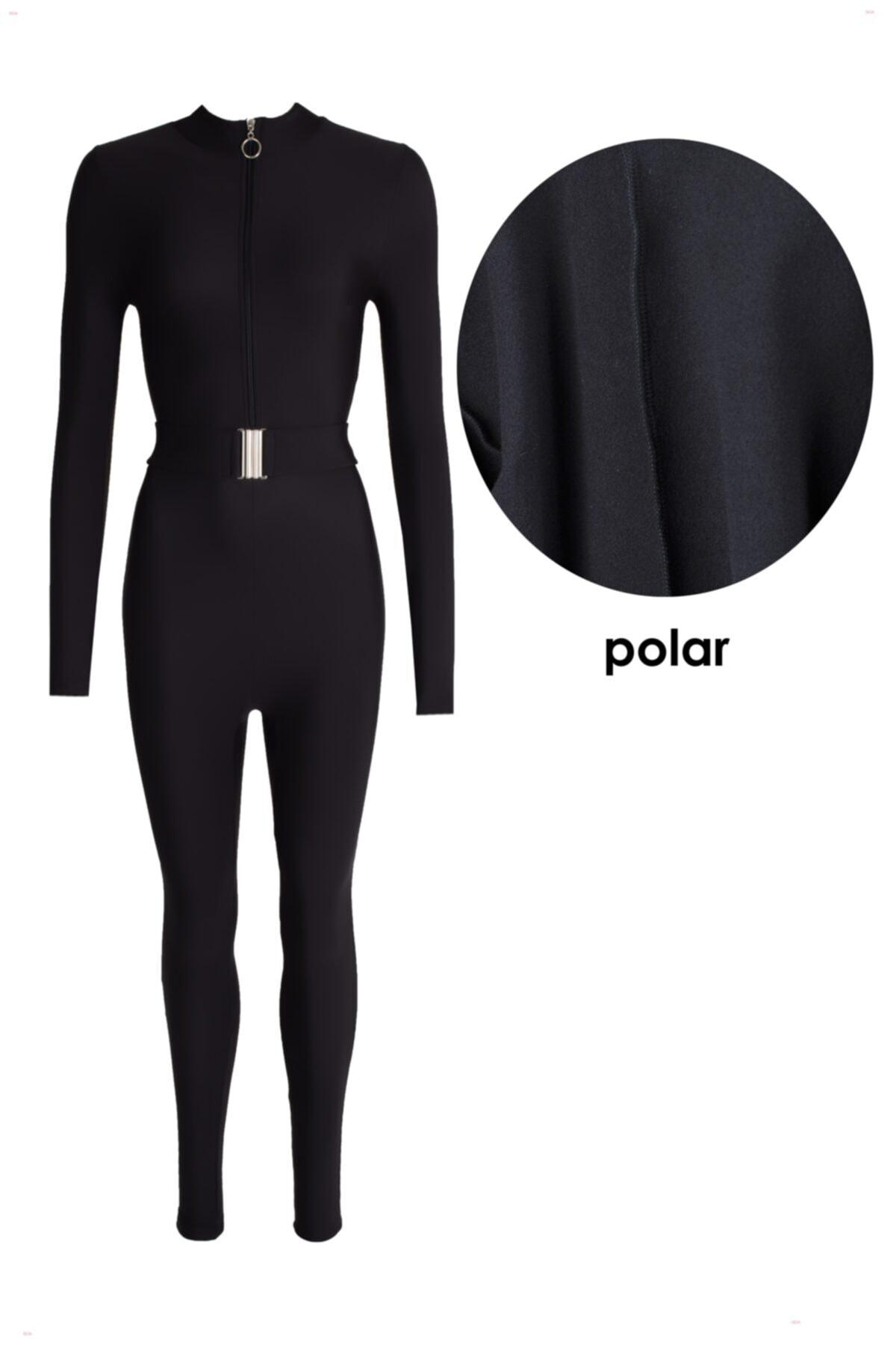 Seja Polarlı Kemerli Siyah Kar Tulumu 2