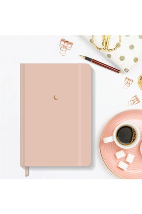 AKILLICA Notebook Lastikli Düz Çizgisiz Sert Kapak Defter 13x21 Cm Hardcover Notebook Powder Color