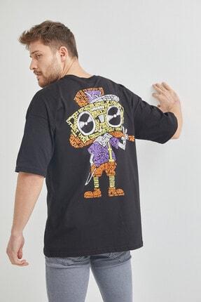 XHAN Siyah Önür & Arkası Baskılı Oversize T-shirt 1kxe1-44650-02