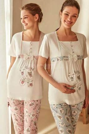 Feyza Pijama Kadın Mavi Lohusa Emzirme Pijama