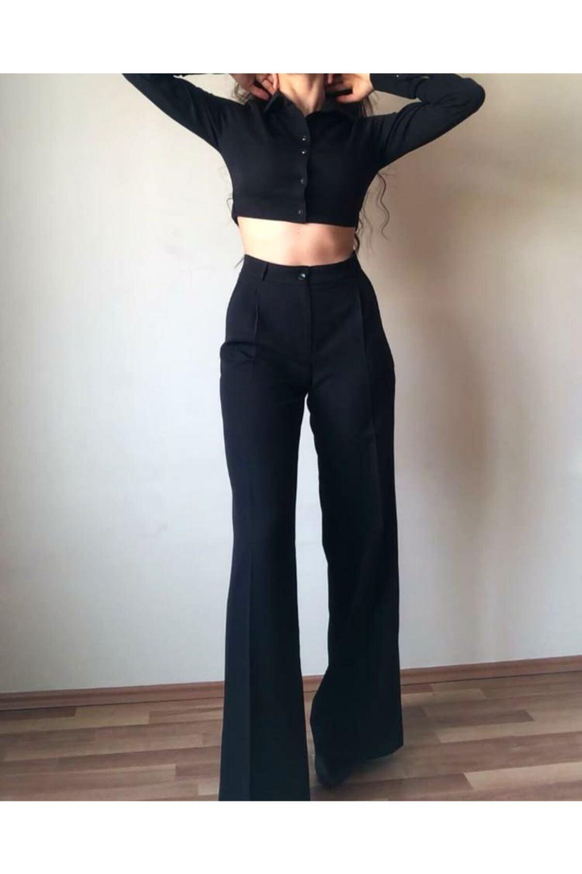 KAD Moda Kadın Pileli Siyah Palazzo Pantolon 1