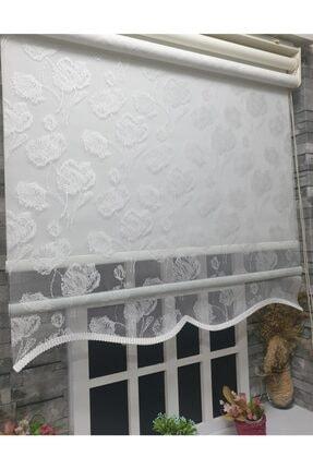 StorBurada Çift Mekanizmalı Kirli Beyaz Tül Perde Ve Ekru Stor Perde Stb1093